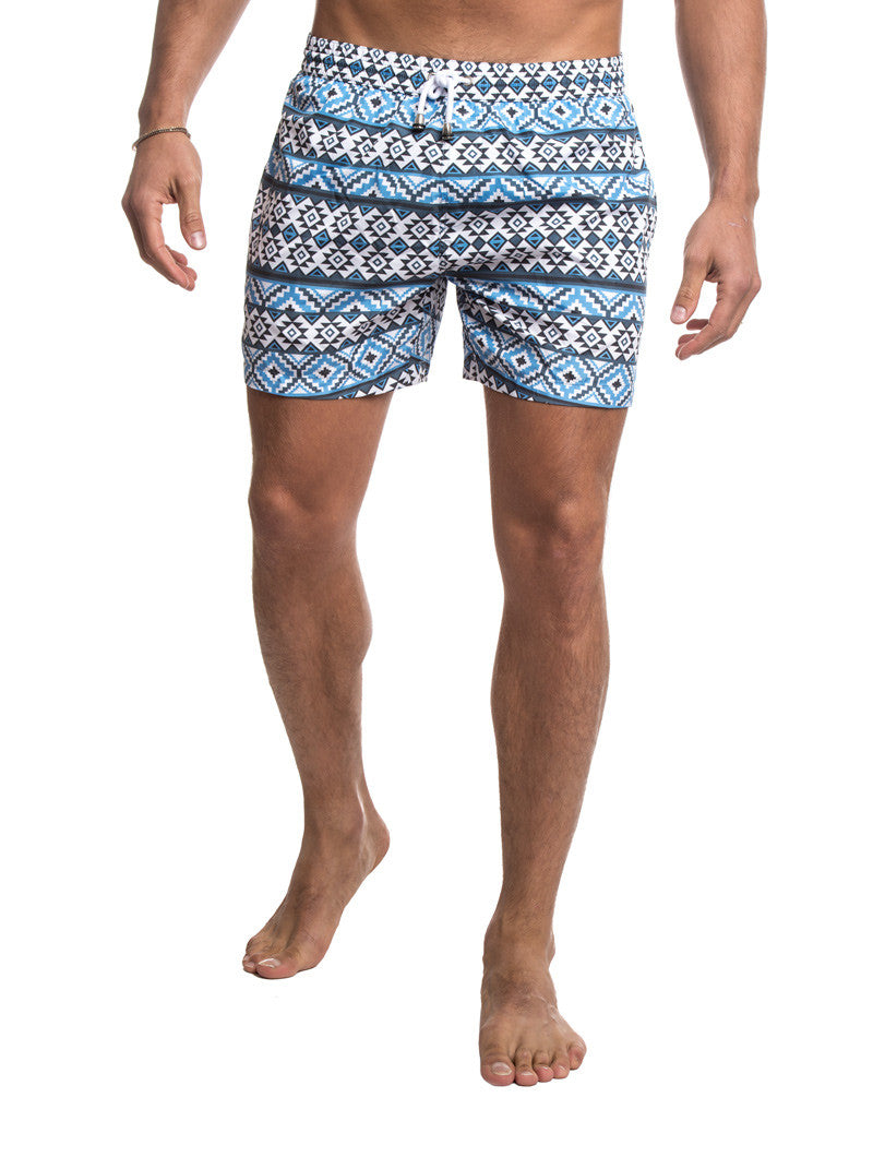 MEN'S CLOTHING | SWIMWEAR | BLUE AZTEC SWIM PANTS | SWIM SHORTS | TECHNICAL FABRIC | ALL-OVER PRINT | AZTEC PRINT | BLUE | SHORT LENGTH | #SUMMERVIBES | V2 | NOHOW