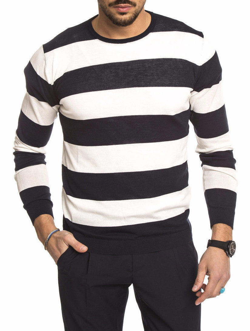 MEN'S CLOTHING | WHITE AND BLUE STRIPED SWEATER | CREW NECK | LONG SLEEVE | RIBBED CUFFS | RIBBED HEM | COTTON | NOHOW STREET COUTURE | NOHOW