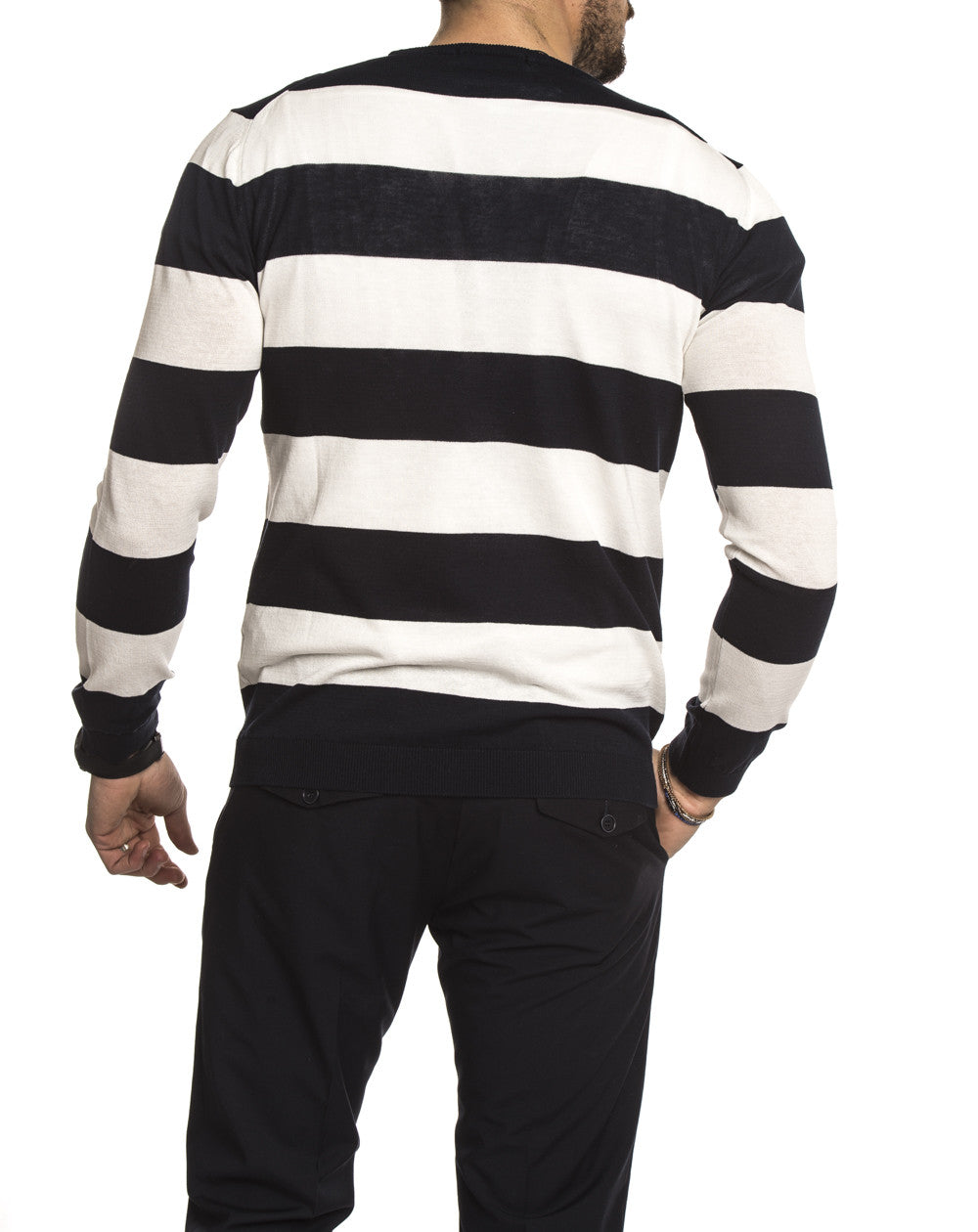 Mens Clothing White And Blue Striped Sweater Nohow Street
