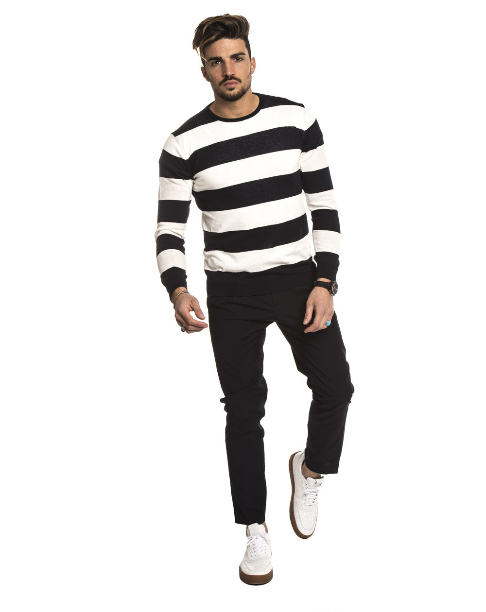 MEN'S CLOTHING | WHITE AND BLUE STRIPED SWEATER | CREW NECK | LONG SLEEVE | RIBBED CUFFS | RIBBED HEM | COTTON | MARIANO DI VAIO | NOHOW STREET COUTURE | NOHOW