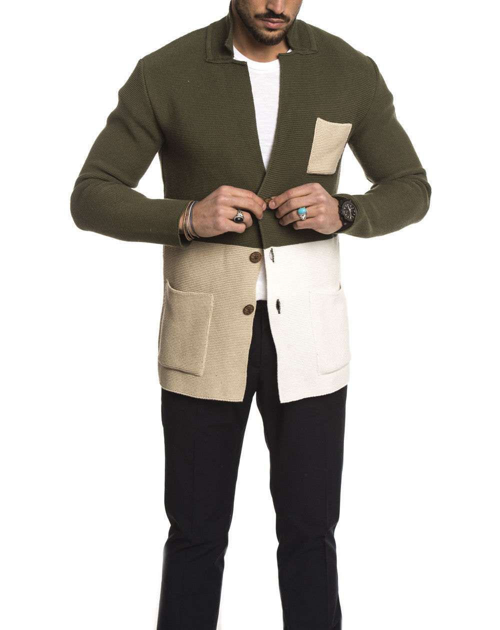 MEN'S CLOTHING | GREEN MULTICOLOR POCHETTE BLAZER | COLOR BLOCK | KNITTED COAT | GREEN | WHITE | BEIGE | SLIM FIT | V2