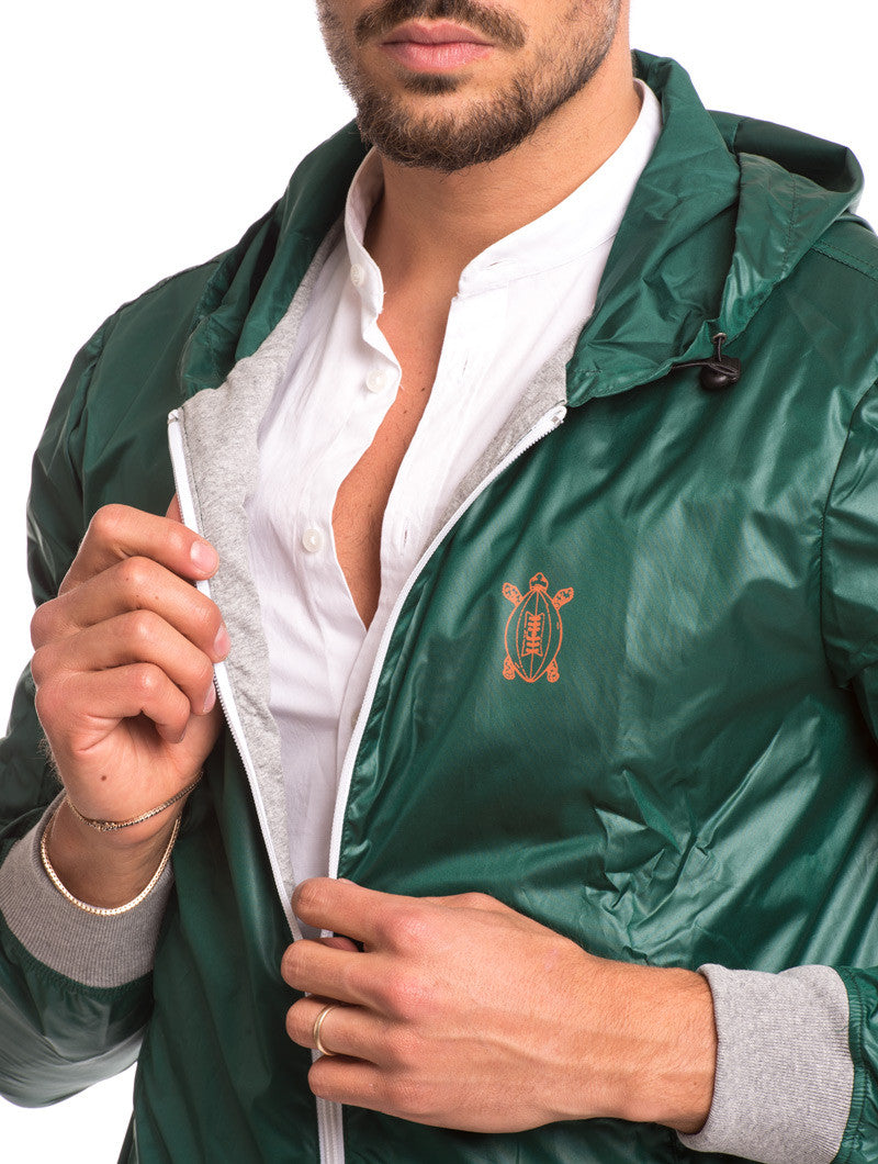 MEN'S CLOTHING | GREEN RUGBY PATCH JACKET | WINDBREAKER JACKET| TECHNICAL FABRIC | HOOD |COTTON JERSEY CUFFS | ELBOW PATCHES | GABARDINE PATCH | PRINTED NUMBER | ZIP POCKETS | MADE IN ITALY | SOLASIE' | NOHOW