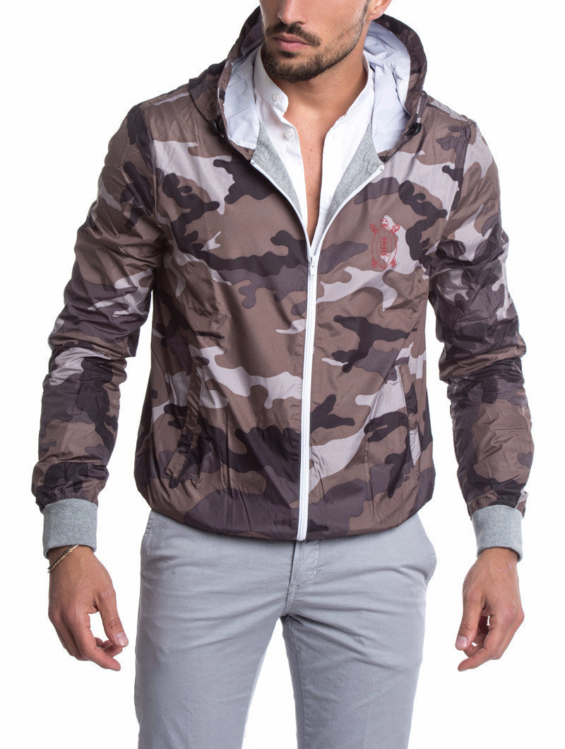 MEN'S CLOTHING | GREY CAMO RUGBY PATCH JACKET | WINDBREAKER JACKET| TECHNICAL FABRIC | HOOD |COTTON JERSEY CUFFS | ELBOW PATCHES | GABARDINE PATCH | PRINTED NUMBER | ZIP POCKETS | MADE IN ITALY | SOLASIE' | NOHOW
