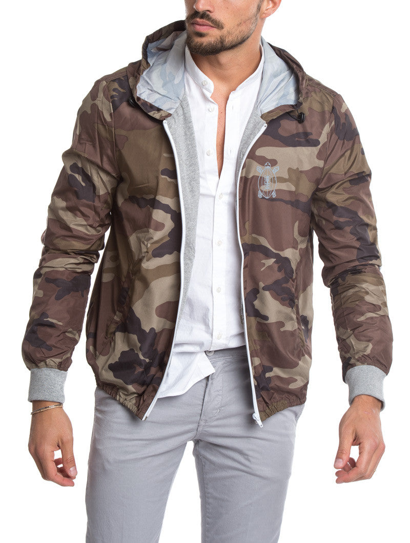 MEN'S CLOTHING | GREEN CAMO RUGBY PATCH JACKET | WINDBREAKER JACKET| TECHNICAL FABRIC |HOOD |COTTON JERSEY CUFFS | ELBOW PATCHES | GABARDINE PATCH | PRINTED NUMBER | ZIP POCKETS | MADE IN ITALY | SOLASIE' | NOHOW