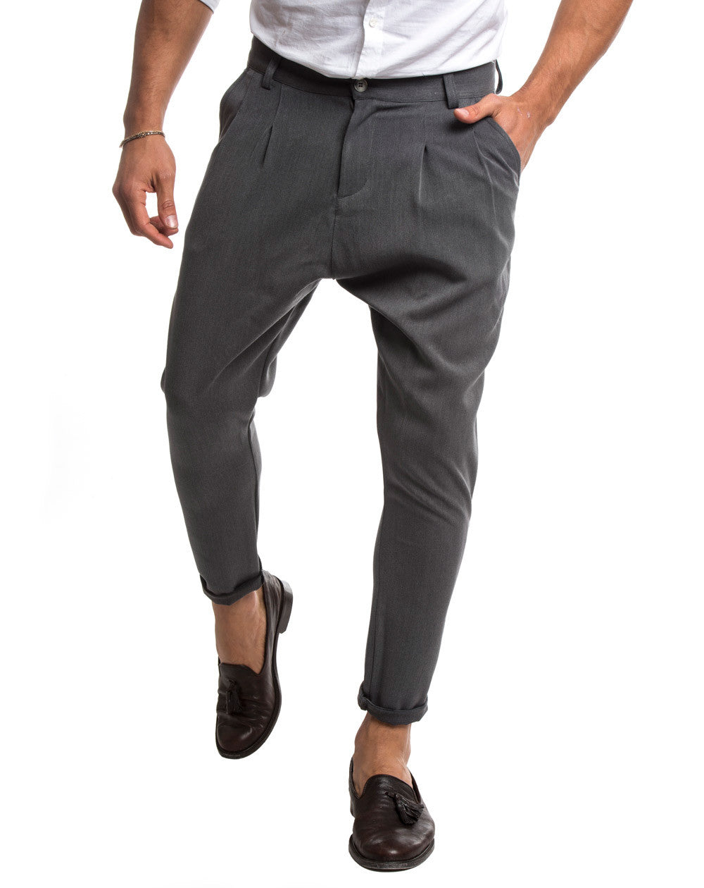 MEN'S CLOTHING | GREY DOUBLE PLEAT PANTS | TAPERED FIT | DROPPED CROTCH |  COTTON |