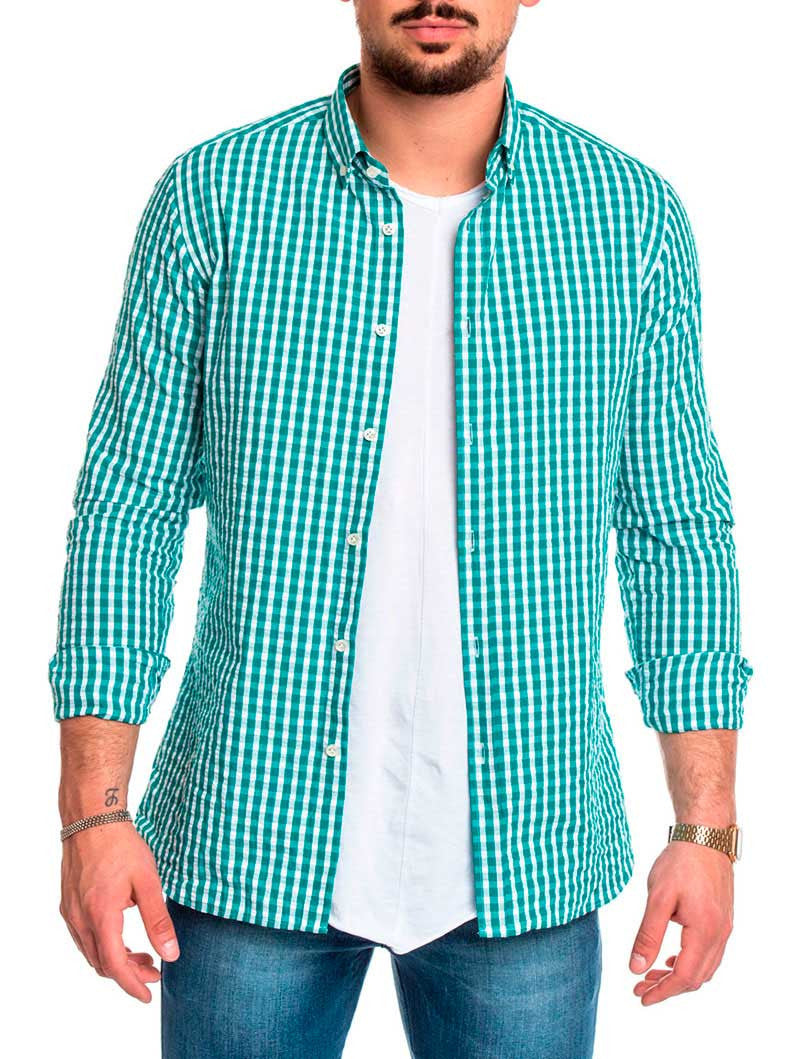 MEN'S CLOTHING | GREEN SEERSUCKER SHIRT | GREEN AND WHITE | BREATHABLE COTTON | SUMMER SHIRT | LONG SLEEVES | CUTAWAY COLLAR | SLIM FIT | NOHOW STREETWEAR COLLECTION | NOHOW