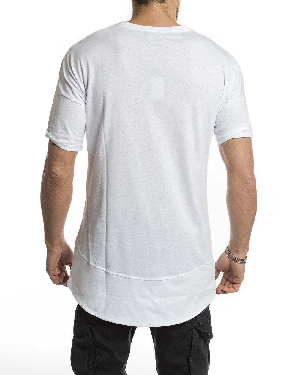 WHITE LONG TEE POCKET