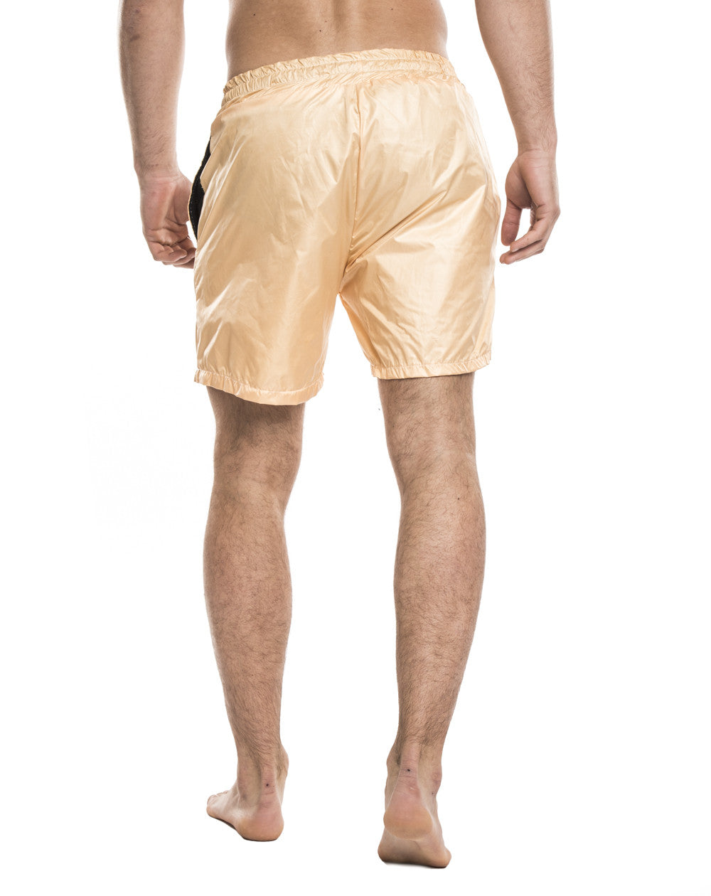 MEN'S CLOTHING | BOTTOMS | SWIMWEAR | GOLD SWIM PANTS | SWIM SHORTS | TECHNICAL FABRIC | ELASTICATED DRAWSTRING WAISTBAND | MESH LINING | MID LENGTH | SIDE POCKETS | POLYESTER | #SUMMERVIBES | NOHOW