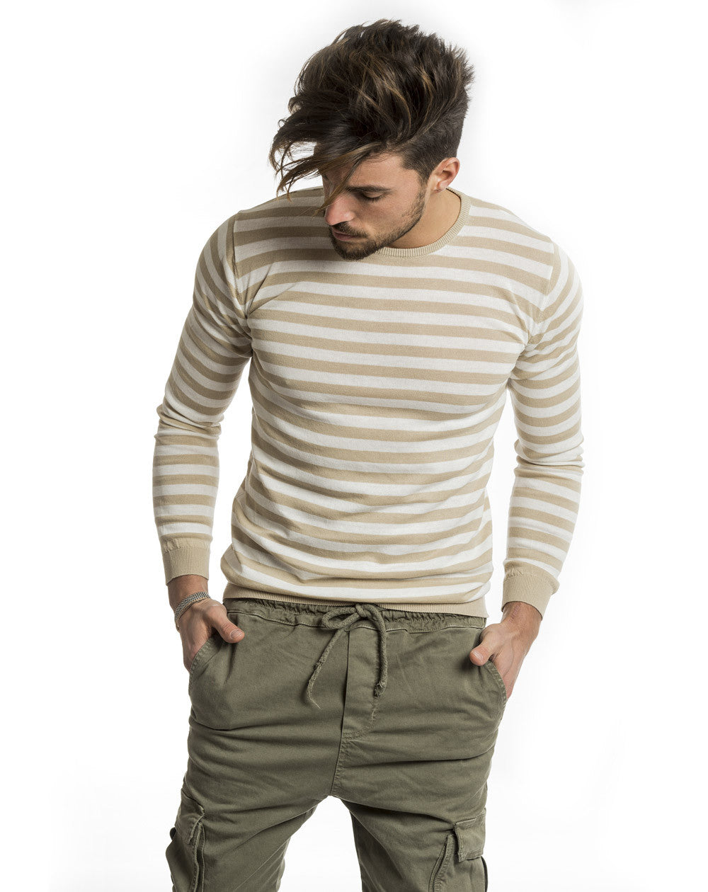 MEN'S CLOTHING | BEIGE AND WHITE STRIPED SWEATER | LIGHTWEIGHT COTTON KNIT | CREW NECK | LONG SLEEVE | RIBBED CUFFS | RIBBED HEM | COTTON | NOHOW STREET COUTURE | NOHOW