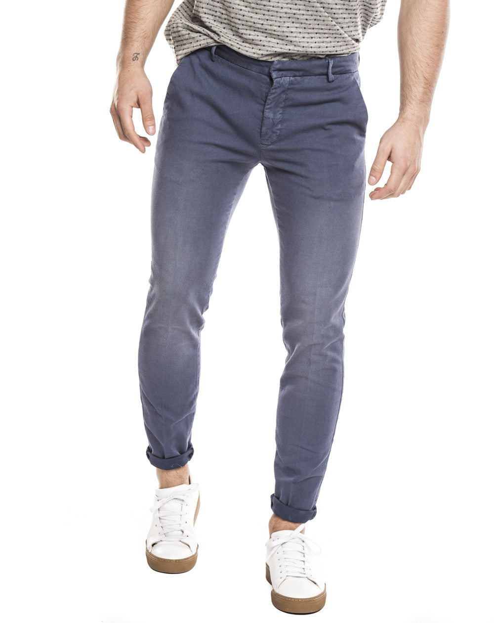 MEN'S CLOTHING | CASUAL BLUE PANTS | PANTS FOR MEN | BOTTOMS | TROUSERS | COTTON | MADE IN ITALY | SLIM FIT | NOHOW FOR CASUAL OUTFITS | NOHOW