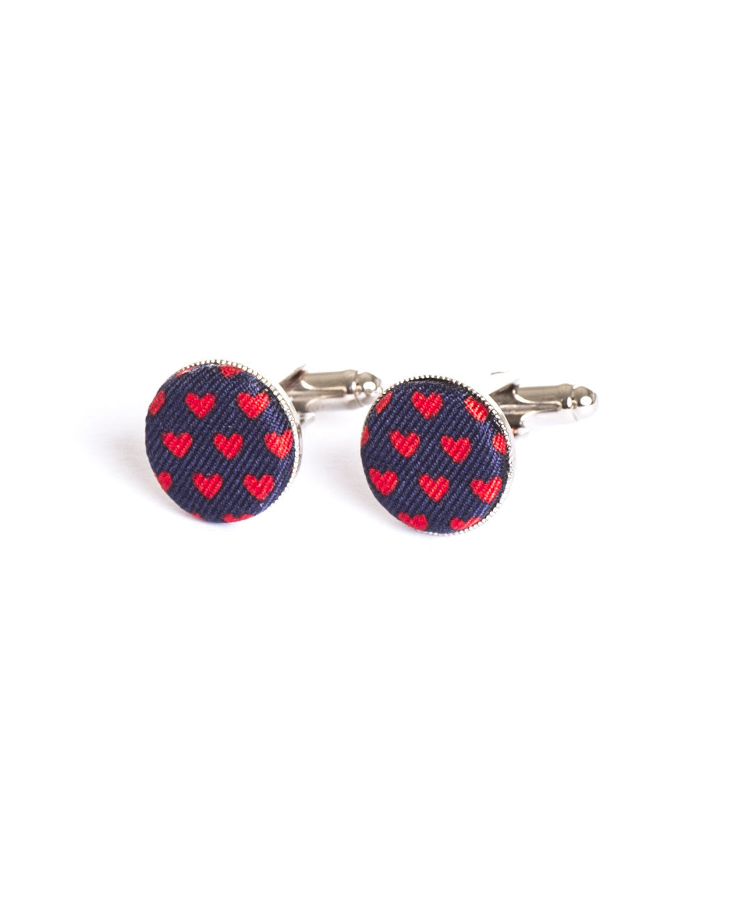 BLUE RED HEART CUFFLINKS