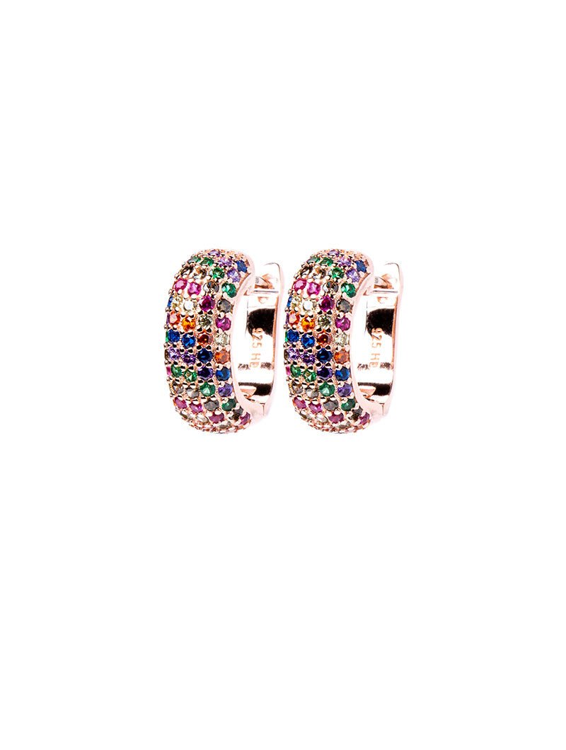 RITA EARRINGS IN ROSE GOLD WITH MULTICOLOUR ZIRCONS