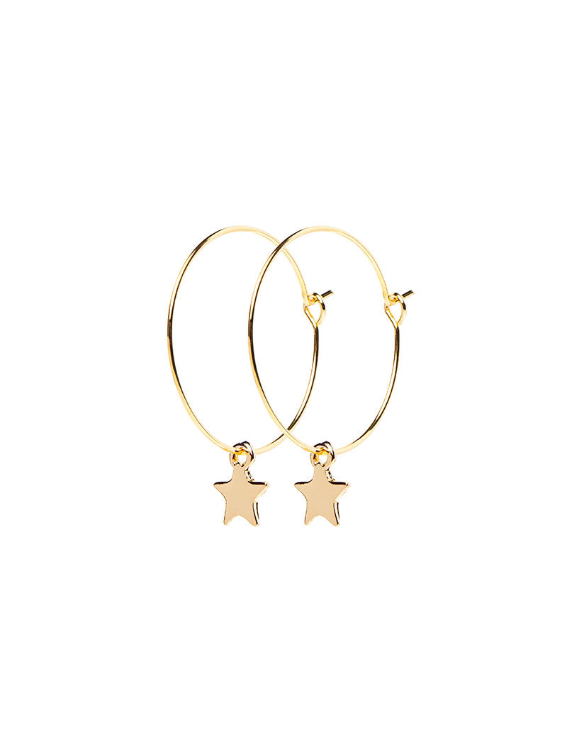 STAR EARRINGS IN GOLD WITH PENDANT