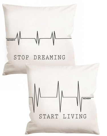 TWO WHITE HEART BEAT PILLOW
