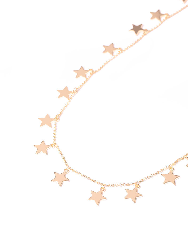 VICTORIA NECKLACE IN ROSE GOLD WITH STARS CHARMS