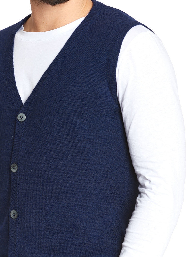 MEN'S CLOTHING | HOLDEN KNITTED VEST IN BLUE | V-NECK | NOHOW STREET COUTURE