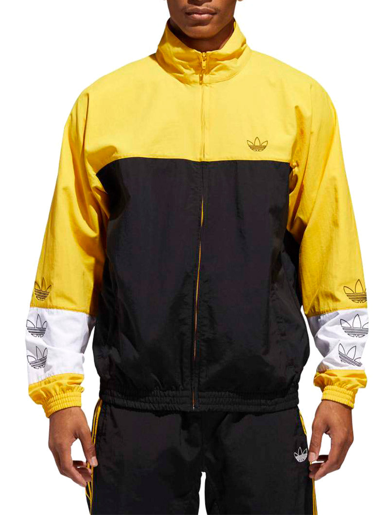 factory authentic 40e87 89b8a BLOCKED WARM UP TRACK-JACKET IN BLACK AND YELLOW