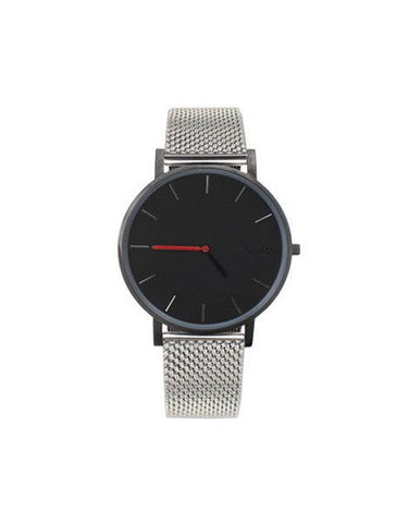 Black Pure watch silver mesh strap nohow
