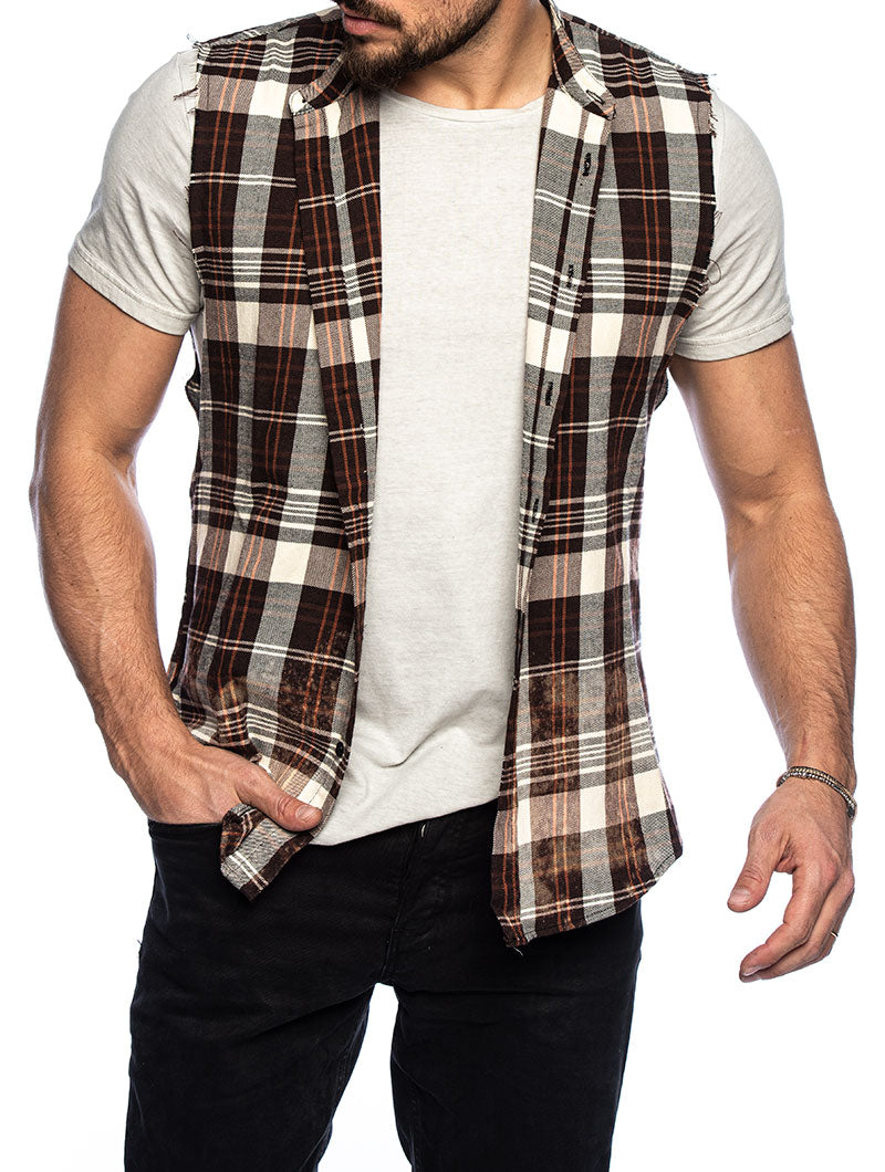 BRAM CHECKED SHIRT IN RUST AND CREAM