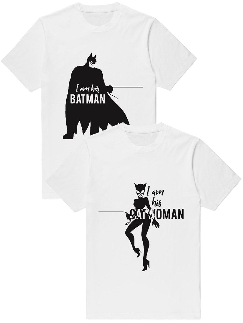 BATMAN & CATWOMAN T-SHIRTS IN WHITE
