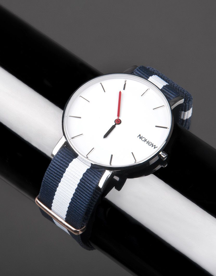 White Pure watch blue and white fabric strap nohow