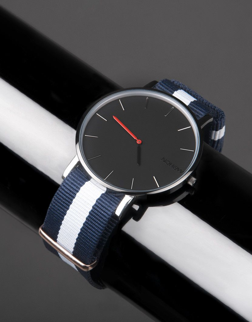 Black Pure watch blue and white fabric strap nohow