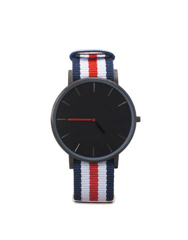 Black Pure watch blue white and red fabric strap nohow