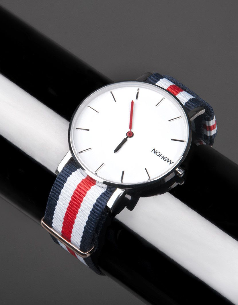 White Pure watch blue white and red fabric strap nohow