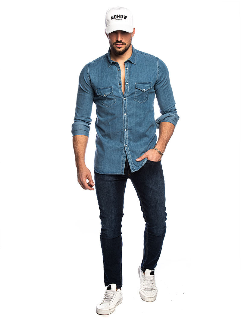 POCKET DENIM JEANS SHIRT