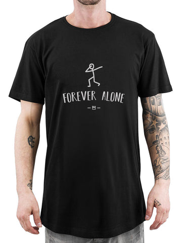 BLACK FOREVER ALONE LONG TEE