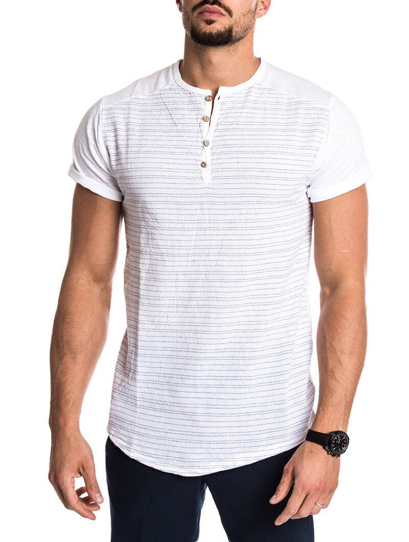 MEN'S CLOTHING | WHITE STRIPED BUTTON T-SHIRT | LINEN COTTON BLEND | SKINNY FIT | SHORT SLEEVES | LONGLINE CUT | NOHOW SUMMER COLLECTION | NOHOW