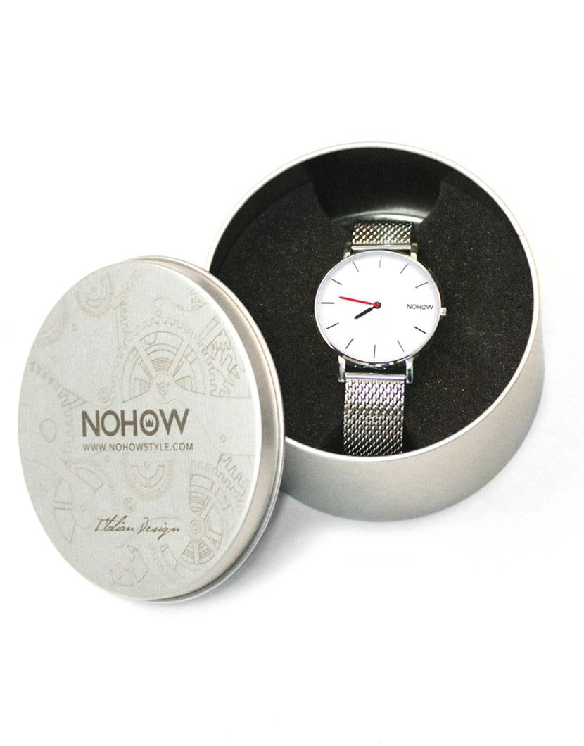 WHITE PURE WATCH BLU WHITE AND RED FABRIC STRAP