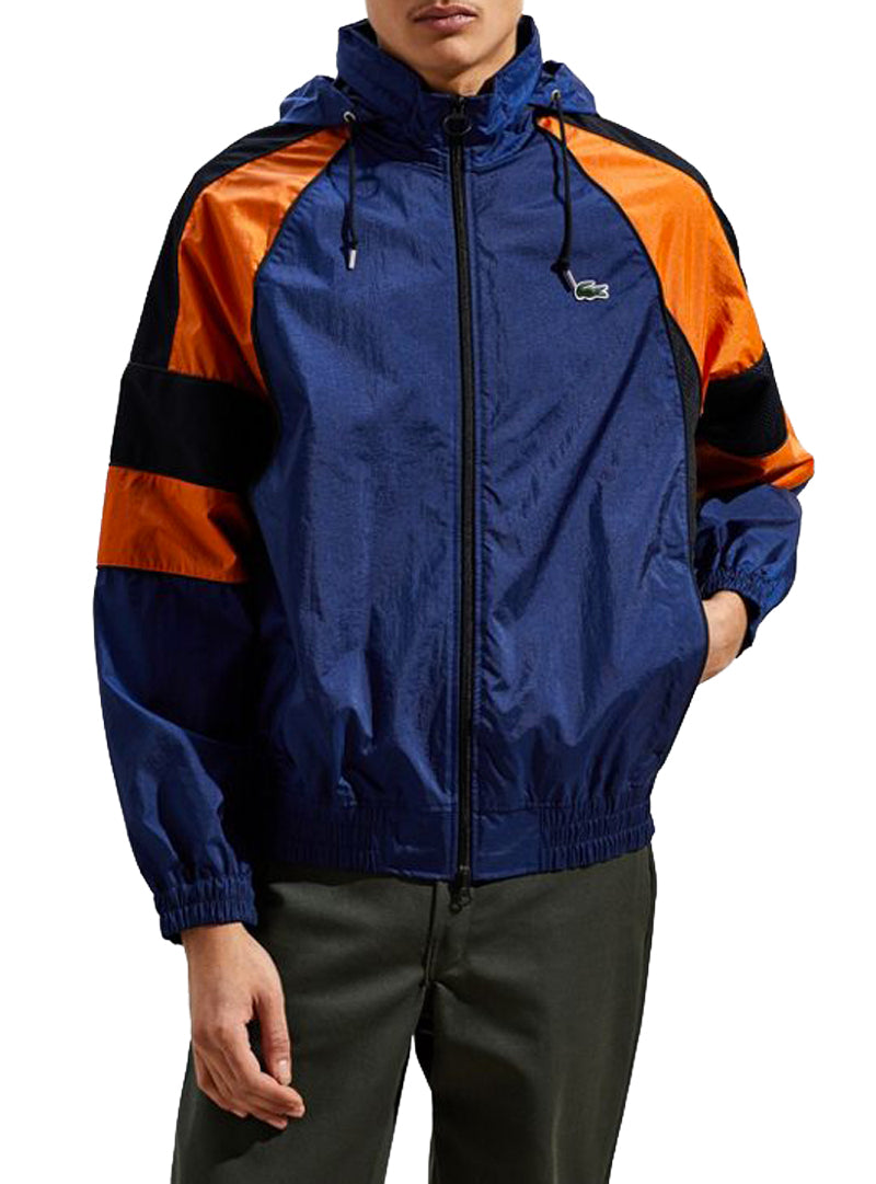 LACOSTE TRACK-JACKET IN BLUE AND ORANGE