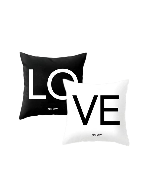 LO VE PILLOWCASES IN BLACK AND WHITE