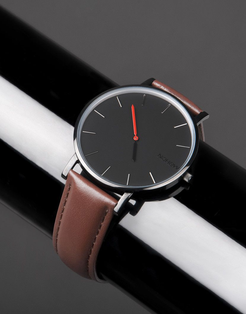 Black Pure watch brown leather nohow
