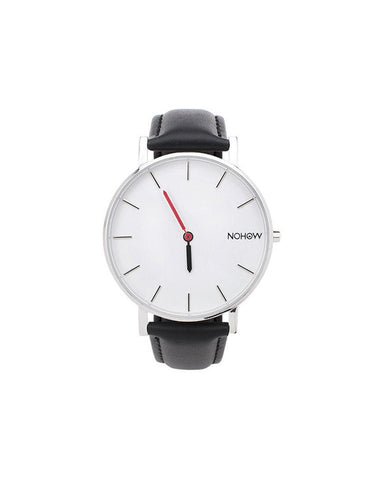 White Pure watch black leather nohow