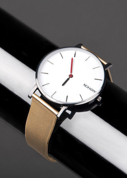 Nohow | White Pure Watch Gold Mesh Strap