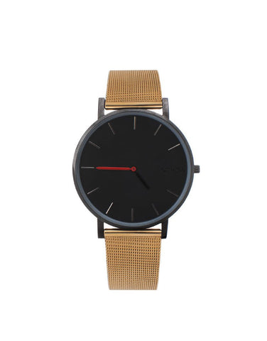 Black Pure watch gold mesh strap nohow