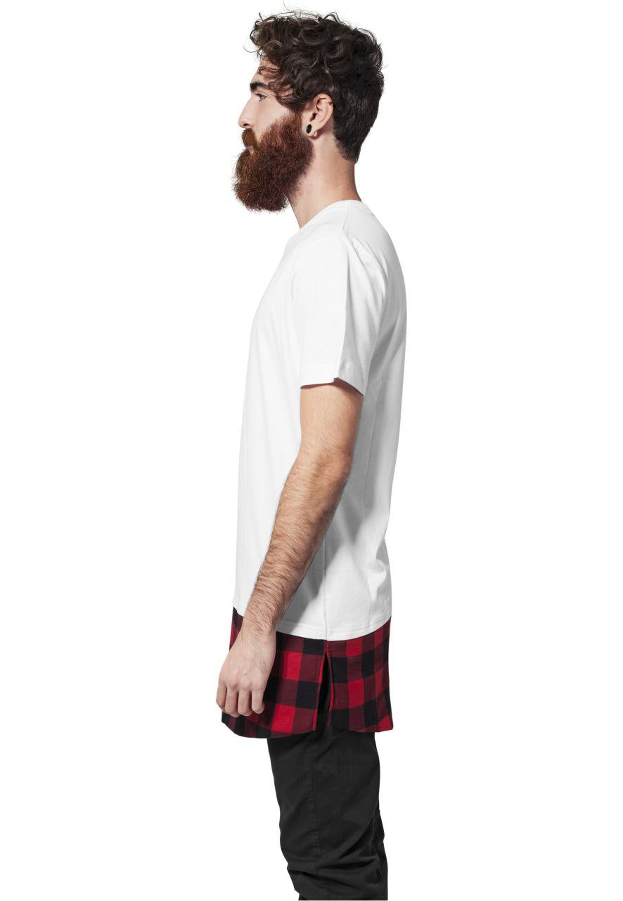 MEN'S T-SHIRT | LONG TEE SHAPED FLANELL WHITE | NOHOW STYLE