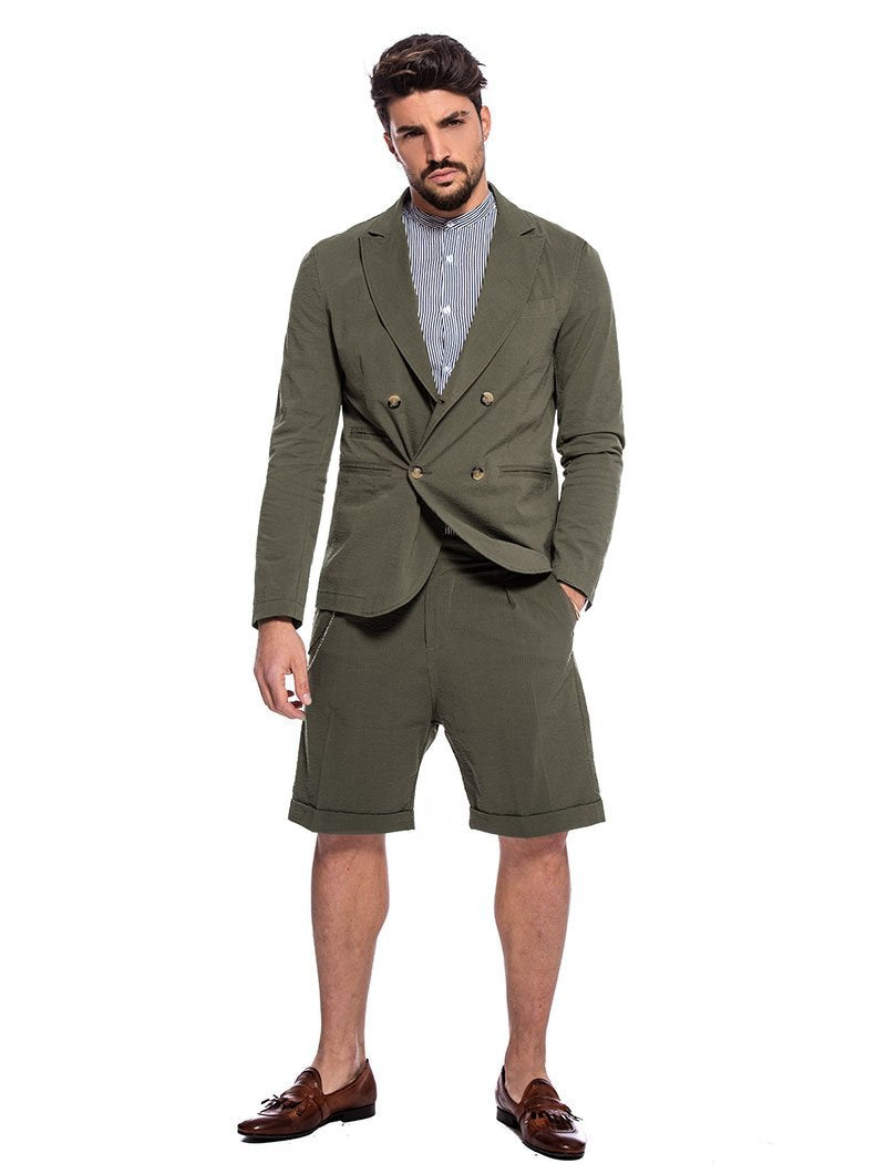 DUBAI SEERSUCKER SUIT IN GREEN