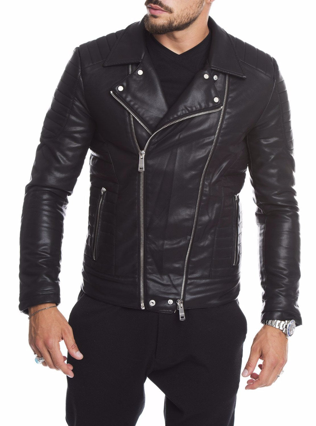 MEN'S CLOTHING | BLACK ECO-LEATHER KIODO | SLIM FIT | NOHOW