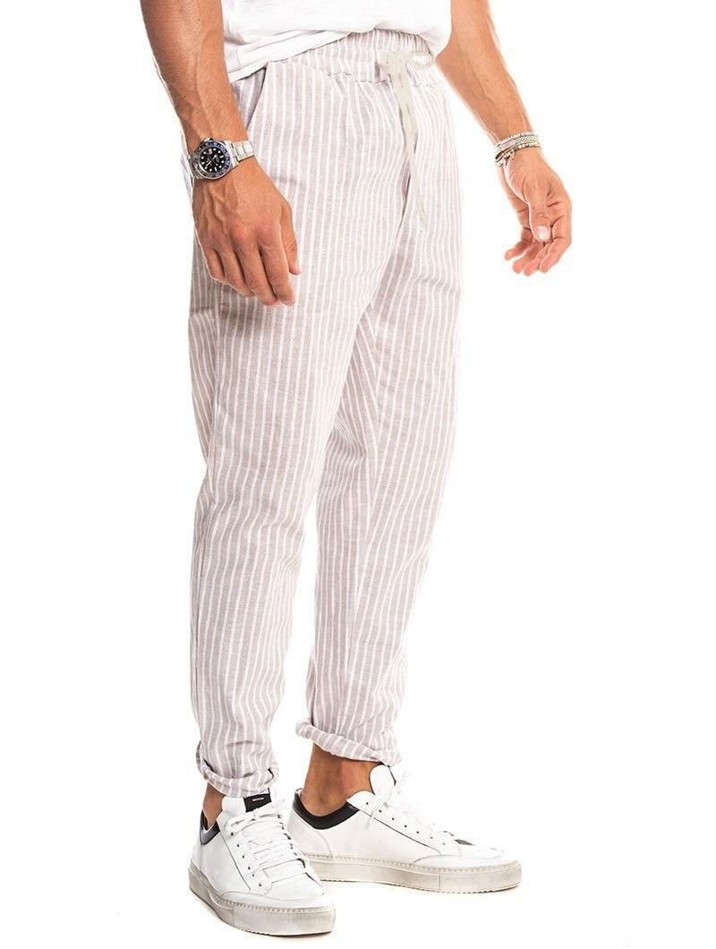 DACRE STRIPED PANTS IN BEIGE AND WHITE