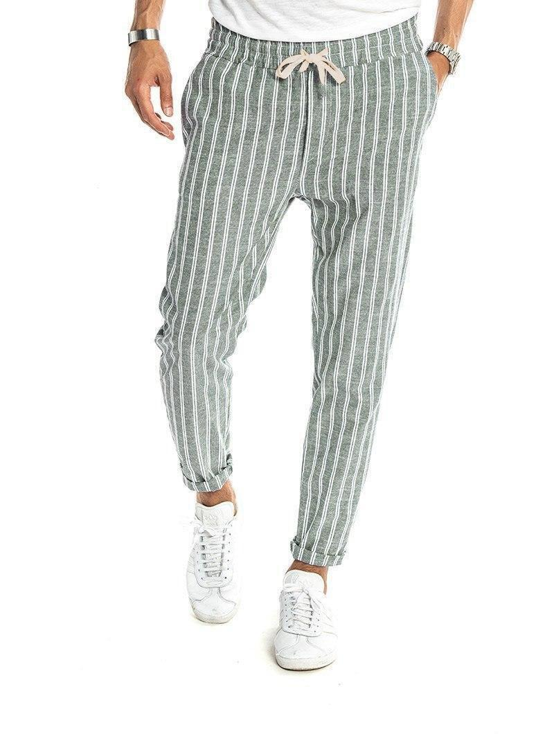 DACRE STRIPED PANTS IN GREEN AND WHITE