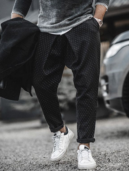 JOSEPH POLKA-DOT TROUSERS IN BLACK