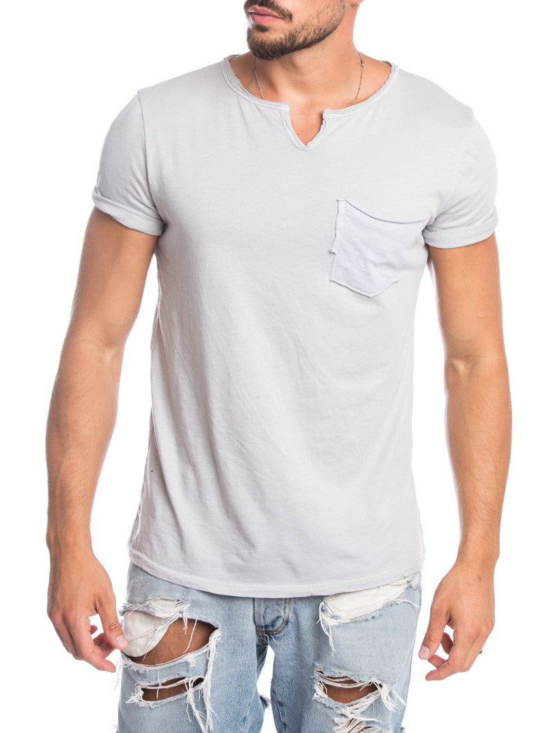 MEN'S CLOTHING | LIGHT GREY POCKET T-SHIRT | CHEST POCKET | MUSCLE FIT | NOHOW