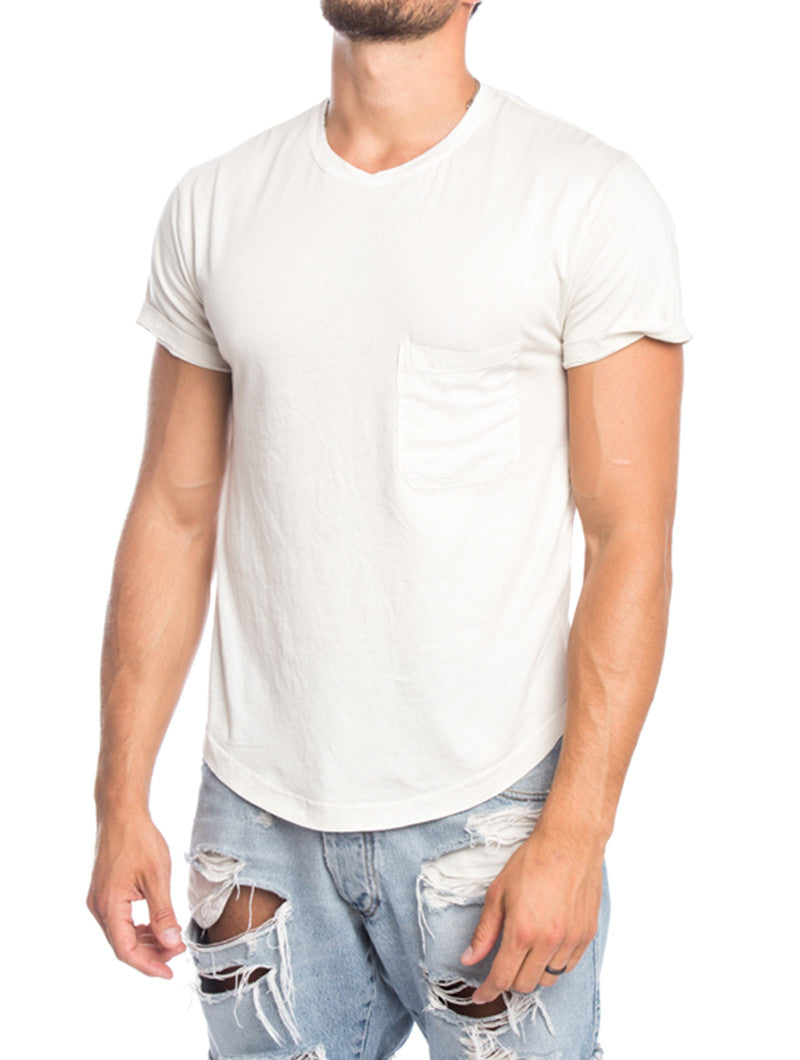MEN'S CLOTHING | ARABIC SAND SERAFINO T-SHIRT | CREW NECK | BEIGE TEE | SHORT SLEEVES | SKINNY FIT| DIPPED HEM | CURVED HEM | LONGLINE CUT | COTTON | NOHOW SUMMER COLLECTION | NOHOW