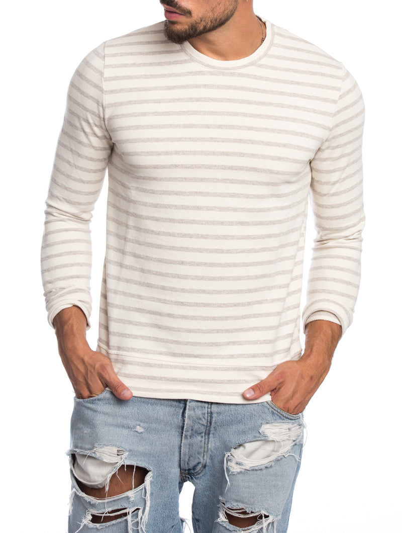 MEN'S CLOTHING | WHITE AND BEIGE SWEATER | FINE KNIT | STRIPED | COTTON | CREW NECK | LONG SLEEVES | NOHOW STREET COUTURE | NOHOW