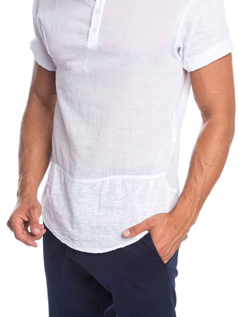 MEN'S CLOTHING | ARABIC WHITE SERAFINO T-SHIRT | WHITE TEE | GRANDAD COLLAR | KOREAN COLLAR | CURVED HEM | LONGLINE CUT | SKINNY FIT | NOHOW SUMMER COLLECTION | NOHOW