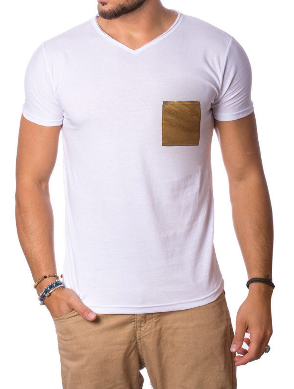 WHITE POCKET LEATHER CAMEL T-SHIRT