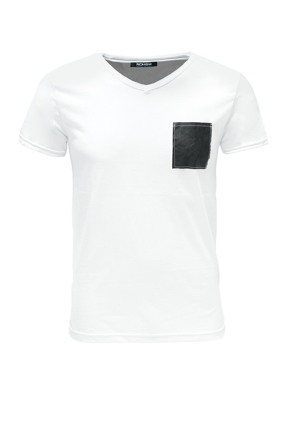 WHITE POCKET LEATHER BLACK T-SHIRT